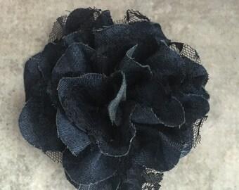Denim flower, denim and lace flower, large flower, dark denim, headband flower