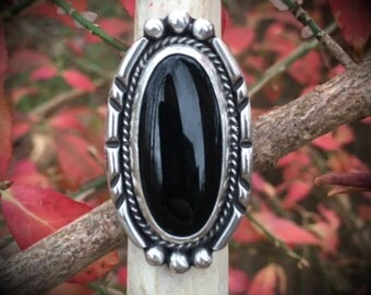 Black Onyx / Bold Oval Stamped Onyx Ring / Artisan / Southwestern Jewelry / Boho Chic Jewelry / Sterling Silver / MADE TO ORDER