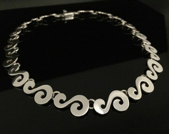 Classic S Shape Necklace // 950 Sterling Silver // Secure Clasp // 16 Inches