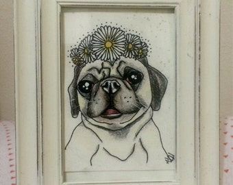 Small Custom Pet portrait! (with frame)