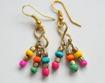 Beautiful upcycled Summer style colorful glass and metal beads drop handmade earrings