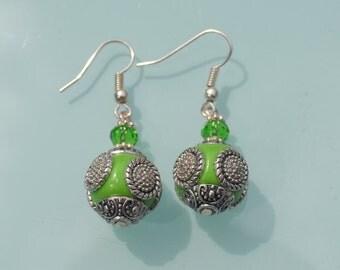 Green Glass metal Earrings, Glass Dangle Earrings, handmade Glass Earrings, gypsy boho chic earrings, summer chic earrings