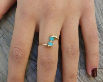 Handmade Aqua Marine Ring - Wire Wrapped Ring - 14K Goldfilled Ring - Choose US Size 2-12,