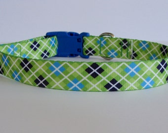 "Green Margarita Argyle Large Dog Collar - 1"" wide - READY TO SHIP!"