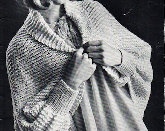 Womens All in One Bedjacket Womens Knitting Pattern PDF Download shawl collar cardigan Bed Jacket Vintage 60s One Size 3 ply 4 ply DK  8 ply