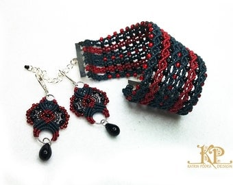 Classic black and red micromacrame bracelet and earrings jewelry set.