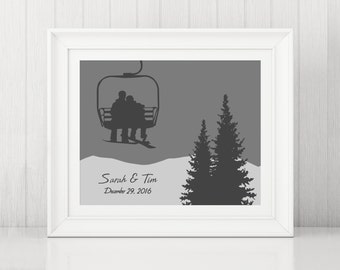 Chair Lift Couple ~ Snowboard Art ~ Snowboard Couple on Chairlift ~ Custom Snowboard Art Print ~ Snowboard Poster ~ Gift for Snowboarders