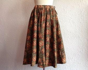 1970s cotton block printed skirt