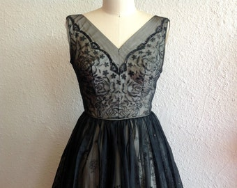 1950s Flocked nylon party dress