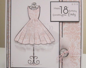 OOAK Feminine Dress & Mannequinn Handmade Card