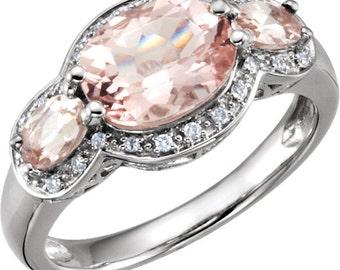 Genuine Morganite Gemstone & 1/10 ctw Diamonds 14K Solid White Gold 3 Stone Ring Size 7