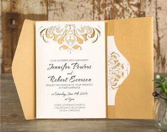10 Affordable Luxurious Pocket Wedding Invitation Set: Invitation, RSVP, Accomodation / Direction, Thank You Card