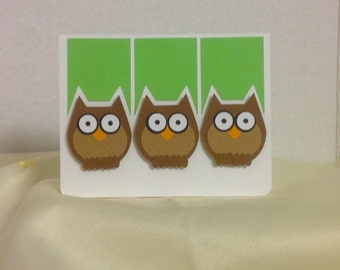 Hoot The Owl Card , Blank , cute, fun, kids, adults, green, blue, cardstock, birthday , any occasion, FREE CONFETTI