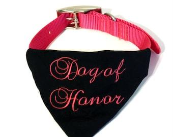 Wedding Dog Collar Bandana - Dog of Honor Bandana - Dog In Wedding - Wedding Dog Bandana - Dog Wedding Outfit - Dog Wedding Photo Prop - MOH