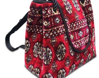 Vintage style Carpet Bag- rucksack BACKPACK Bukhara Red