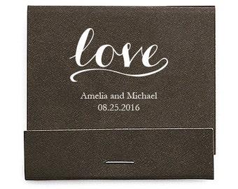Set of 50 Simply Love Matchbooks - Wedding Matchbook - Personalized Wedding Matchbook - Wedding Favors - Wooden Matches - Love Print