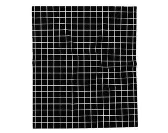 Black and white grid throw blanket. Grid blanket geometric blancket Grid throw geometric throw modern blanket black and white blanket