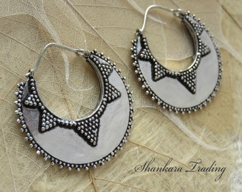 White Brass Tribal Earrings, Ethnic Earrings, Tribal Brass Earrings, Gypsy Hoop Earrings, Indian Earrings, Tribal Gypsy Earrings