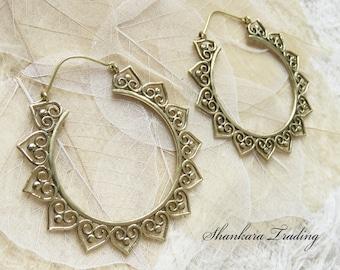 Brass Tribal Earrings, Gypsy Hoop Earrings, Belly Dance Jewelry, Tribal Gypsy Earrings, Boho Brass Jewelry, Ethnic Earrings