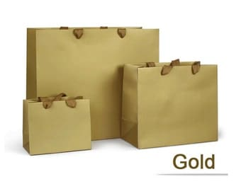 10 x Transverse Paper Gift Bags with Handles / Party Gift Paper Bags for Jewelry Crafts Favors / Extra Small Gold Paper Gift Bags  TZ453