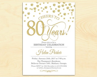 80th Birthday Invitation / 90th / Any Age / Cheers to 80 Years / Gold White / Diamonds / Printable Invitation / Customized