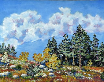 Original landscape painting from the Sandia Mountains in New Mexico. Impressionist southwest style painting. 18 x 24 x 3/4 inch acrylic.