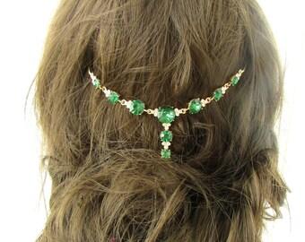 Gold Faux Emerald Green Silver Bridal Headpiece Vine Elvish Medieval Wedding 490