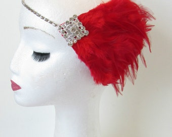 Red Silver Feather Headpiece Flapper 1920s Vintage Headband Great Gatsby 30s Rhinestone Diamante Elasticated Dress Charleston Headpiece N93