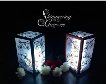 Cherry blossom large lantern luminary wedding centerpiece garden party decor