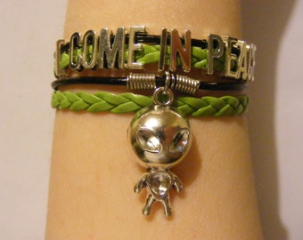 Alien bracelet, alien jewelry, I come in peace bracelet, I come in peace jewelry, UFO bracelet, UfO jewelry, fashion bracelet