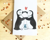 Penguins in Love - greeting card for birthday, new baby, pregnancy, mother's day, father's day, valentine's day