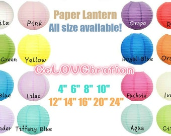 6 Paper Lanterns Set Choose your colors! Bridal Shower Decorations|Garden Wedding Party|1st First Birthday Celebration|Nusery|Tiffany Blue