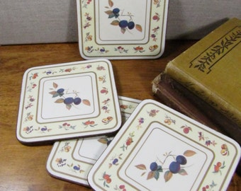 Set of Four (4) Cork Backed Coasters - Fruit Pattern - Pale Yellow and Cream
