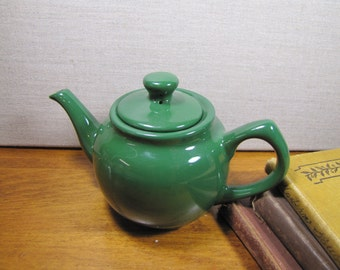Vintage Individual Sized Teapot - Dark Green Ceramic With Porcelain Finish