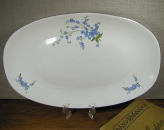 Vintage Chodziez Oval Serving Plate - Blue Flowers - Made in Poland