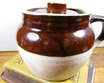 Glazed Pottery Crock With Lid - Brown and Tan - One Handle