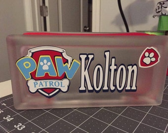 Glass Block Night Lights Paw patrol design! Customized with any name!