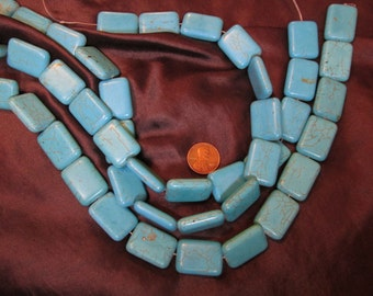 One 15 Inch Turquenite Bead Strand- 18mm x 25mm Puffed Rectangles- Magnesite dyed to resemble turquoise- Stone/ gemstone strand