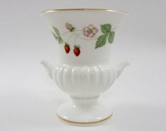 Vintage Wedgwood Wild Strawberry Urn Bud Vase, English Bone China