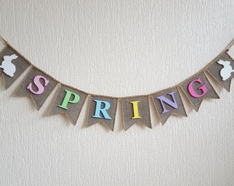 Spring Banner, Spring Garland, Spring Bunting, Spring Sign, Spring Burlap Decor, Photo prop, Spring Home Decor, Burlap Banner Bunting
