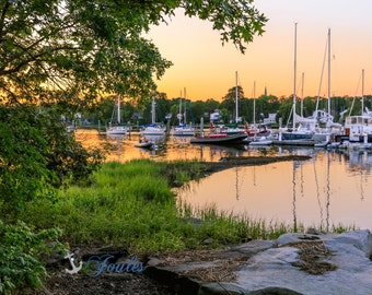 Limited Edition ~ Wickford Summers ~ Wickford, Rhode Island, Sunset, Boats, Wickford Harbor, Summer, Fine Art Canvas, New England