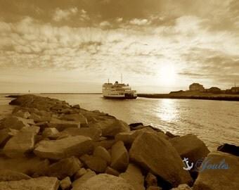 Sail Away ~ Block Island Ferry,  Narragansett, Rhode Island, Beaches, Waves, Coastal Decor, Nautical Photograph, Galilee