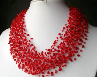 airy beaded necklace. necklace Red Red. Multi-row necklace. Beaded Jewelry. necklace on fishing line. Idea for a gift. great gift for her.