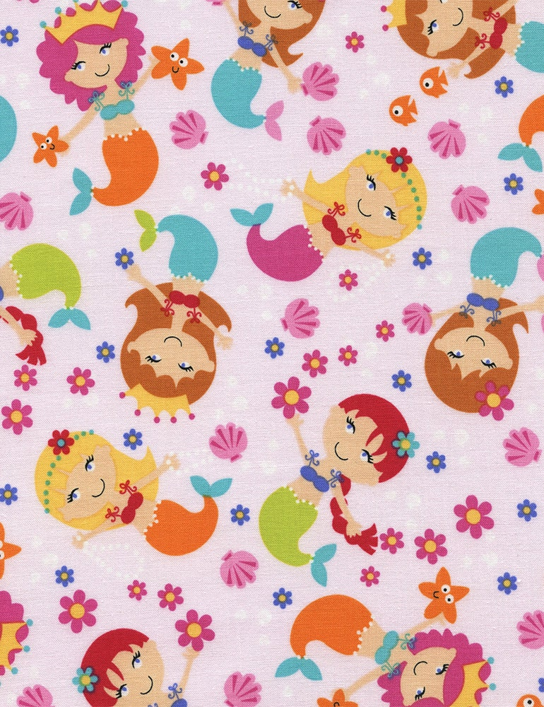 Mermaid fabric childrens fabric mermaids by timeless for Vintage childrens fabric by the yard
