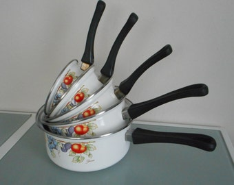 set of 5 vintage French enamel sauce pans with flower design