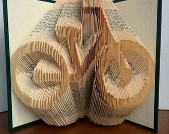Bicycle - Folded Book Art - Fully Customizable, bike silhouette, cycle
