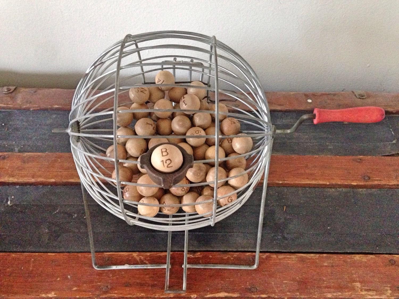 Vintage Bingo Cage With Balls Vintage Bingo Wheel Vintage