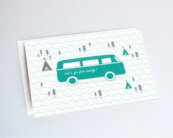 "Postcard ""VAN"" - original print - perfect for a baby room -  van design illustration tipi forest trees"