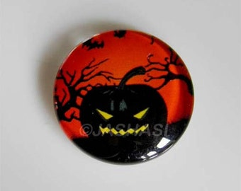 5 Pumpkin Round Glass Cabochons 20mm (042)