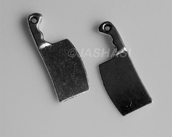 10 Meat Cleaver Tibetan Silver Charms (231)